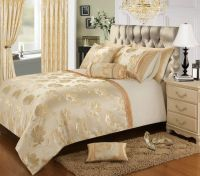 CREAM GOLD COLOUR STYLISH FLORAL JACQUARD DUVET COVER ...